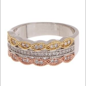 CZ Micro Tri Stacked Ring White, rose, gold ring